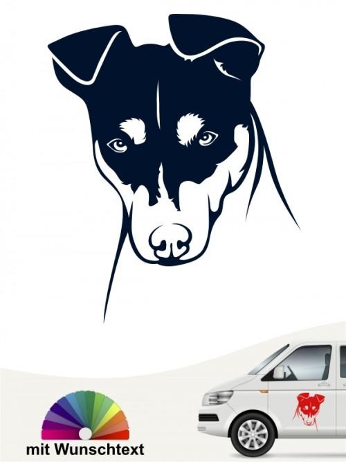 Jack Russell Terrier Hundekopf Autosticker mit Wunschtext von anfalas.de