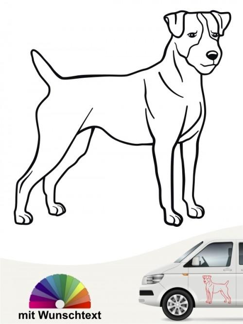 Jack Russell Terrier Hundeaufkleber mit Wunschtext von anfalas.de
