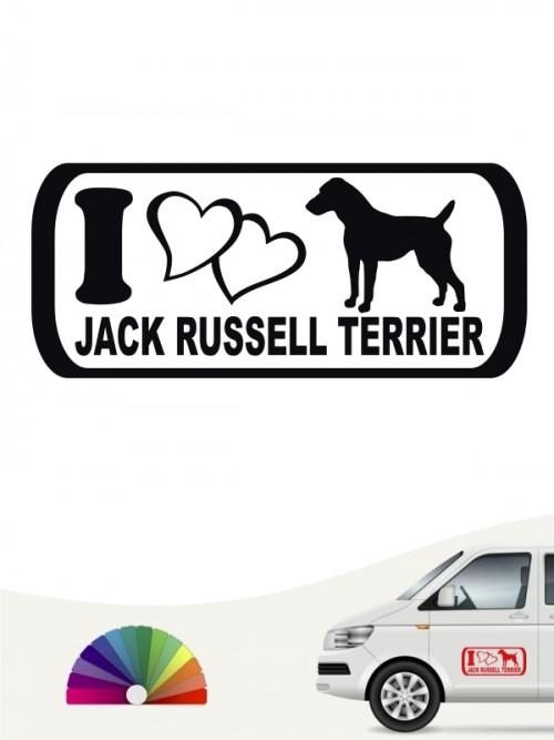 I Love Jack Russell Terrier Autosticker von anfalas.de