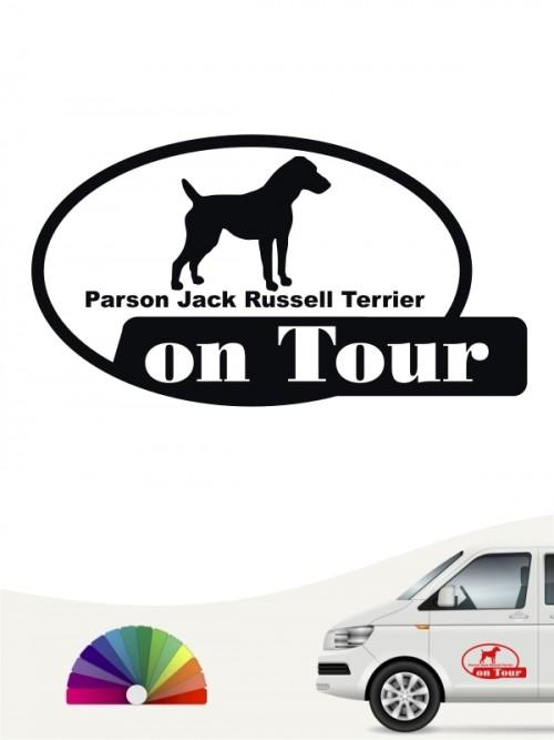 Parson Russell Terrier on Tour Aufkleber von anfalas.de