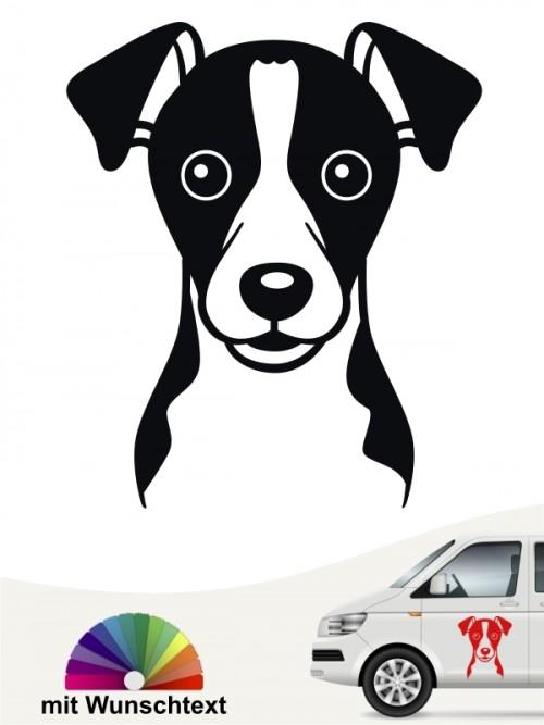 Jack Russell Terrier Comic Heckscheibenaufkleber mit Wunschtext  von anfalas.de