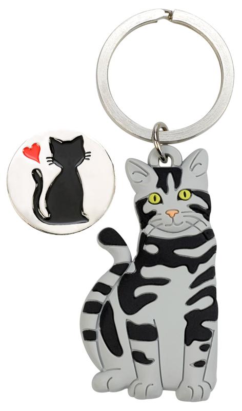 Halter Einkaufswagenchip Katze & Herz