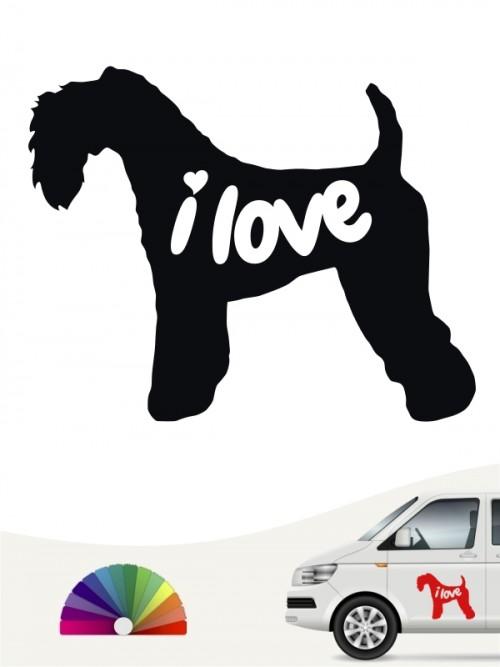Kerry Blue Terrier i love Aufkleber von anfalas.de