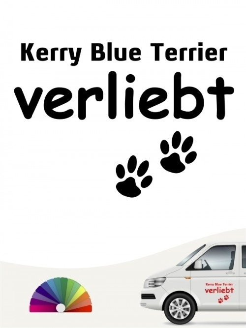 Hunde-Autoaufkleber Kerry Blue Terrier verliebt von Anfalas.de