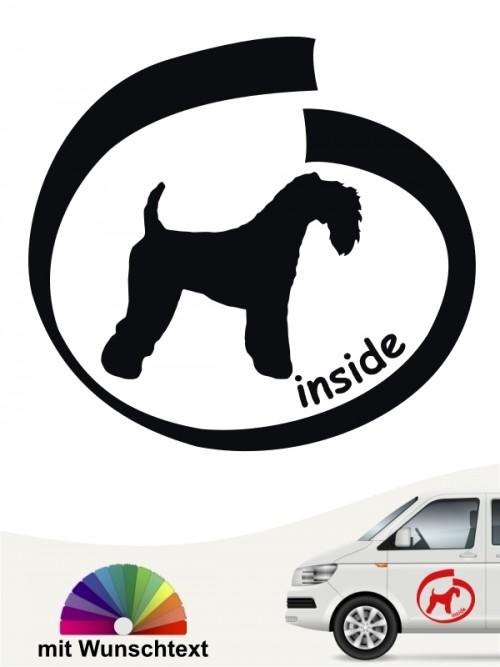 Kerry Blue Terrier inside Heckscheibenaufkleber mit Wunschname von anfalas.de