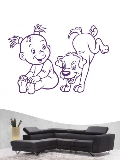 Kind & Hund 18 - Wandtattoo