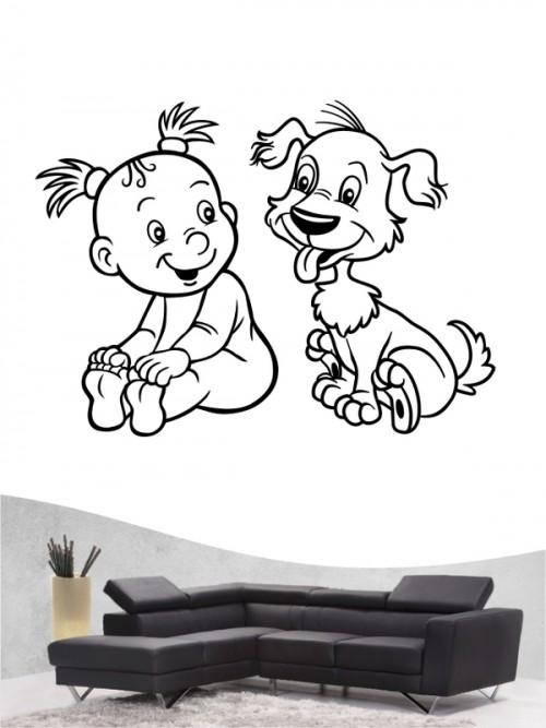 Kind & Hund 19 - Wandtattoo