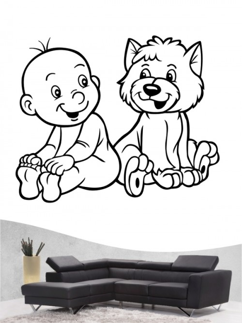 Kind & Hund 1 - Wandtattoo