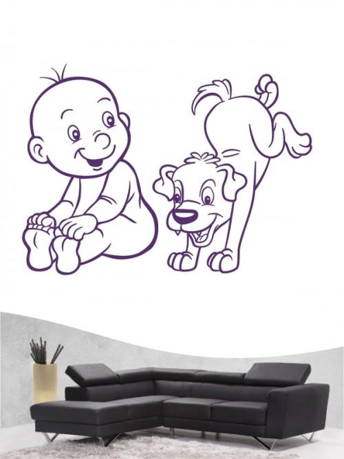 Kind & Hund 20 - Wandtattoo