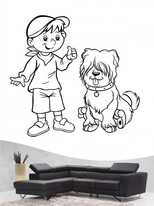 Kind & Hund 25 - Wandtattoo