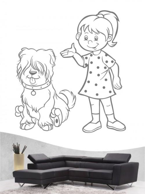 Kind & Hund 26 - Wandtattoo