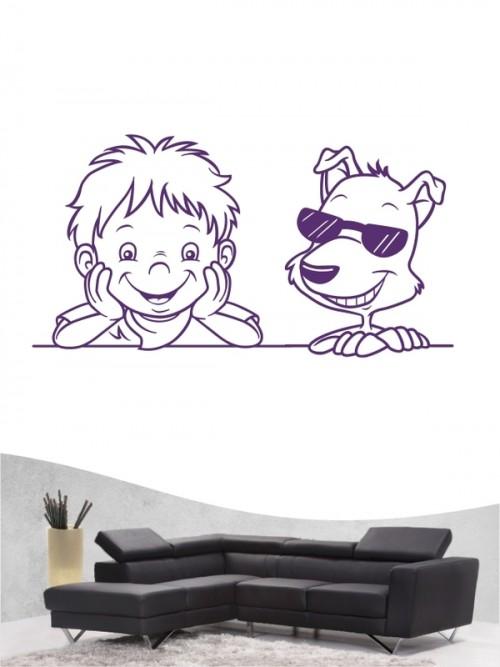 Kind & Hund 34 - Wandtattoo