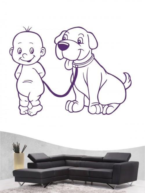 Kind & Hund 3 - Wandtattoo