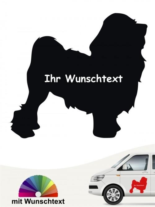Löwchen Silhouette Hundeaufkleber mit Wunschname von anfalas.de