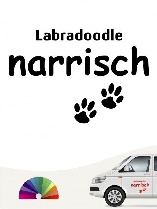 Hunde-Autoaufkleber Labradoodle narrisch von Anfalas.de