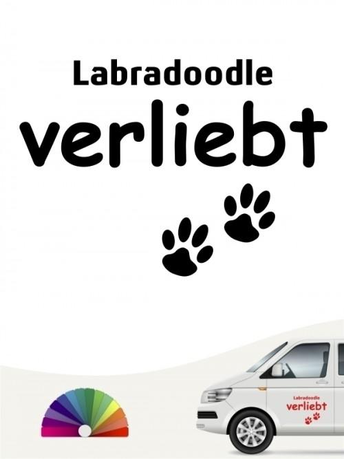 Hunde-Autoaufkleber Labradoodle verliebt von Anfalas.de