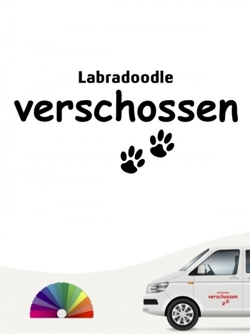 Hunde-Autoaufkleber Labradoodle verschossen von Anfalas.de