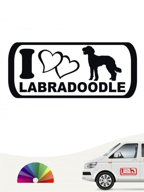 I Love Labradoodle Heckscheibenaufkleber von anfalas.de