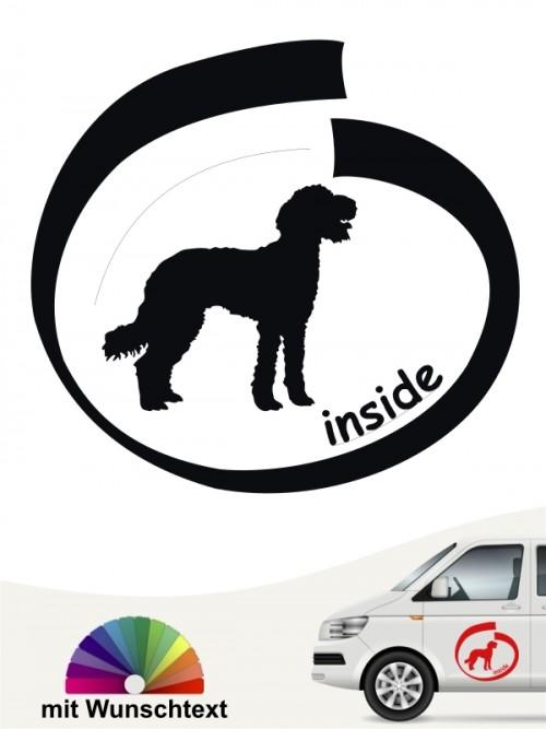 Labradoodle inside Autoaufkleber mit Wunschtext von anfalas.de
