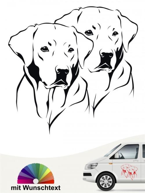 Labrador doppel Köpfe mit Wunschtext Autosticker mit Wunschtext von anfalas.de