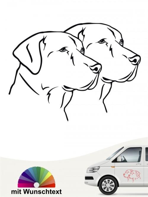 Labrador doppel Köpfe Sticker mit Wunschtext von anfalas.de