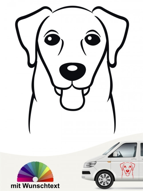 Labrador Retriever Comic Hunde Kopf Autoaufkleber mit Wunschtext von anfalas.de