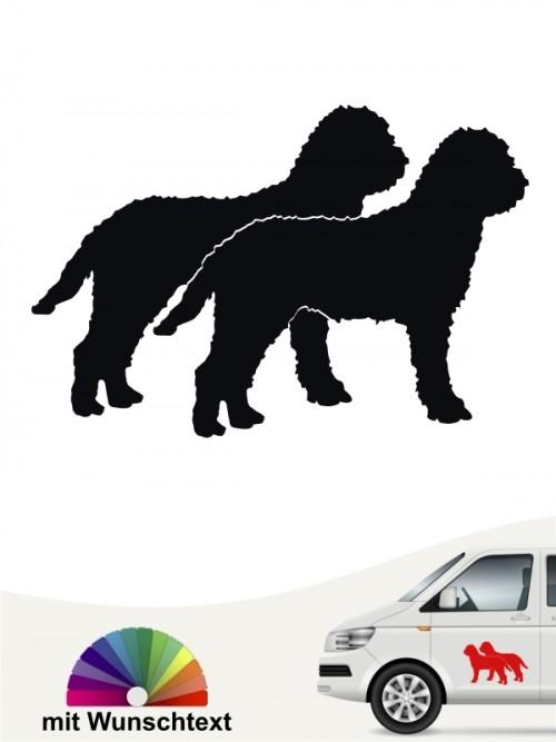 Lagotto Romagnolo doppel Silhouette Autoaufkleber mit Wunschtext von anfalas.de
