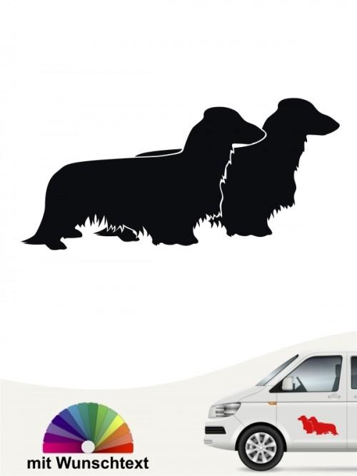 Langhaar Dackel Silhouette Sticker mit Wunschtext von anfalas.de