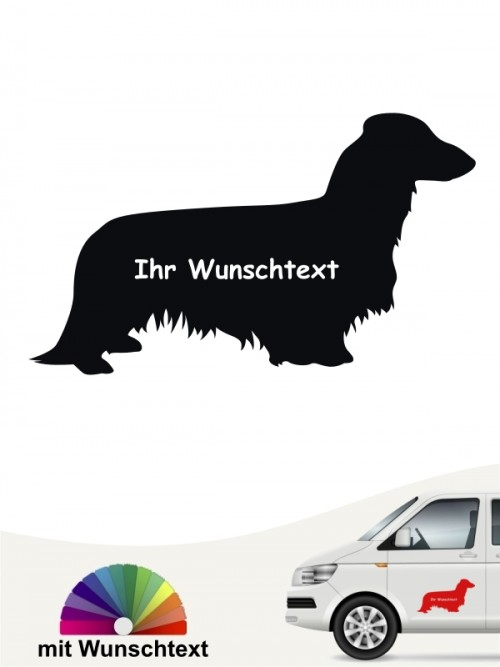 Langhaar Dackel Silhouette Aufkleber mit Wunschname von anfalas.de