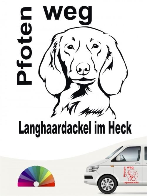 Pfoten weg Aufkleber Langhaar Dackel von anfalas.de