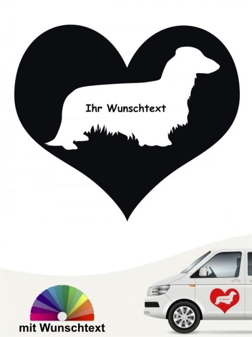 Langhaar Dackel Herzmotiv Autosticker von anfalas.de