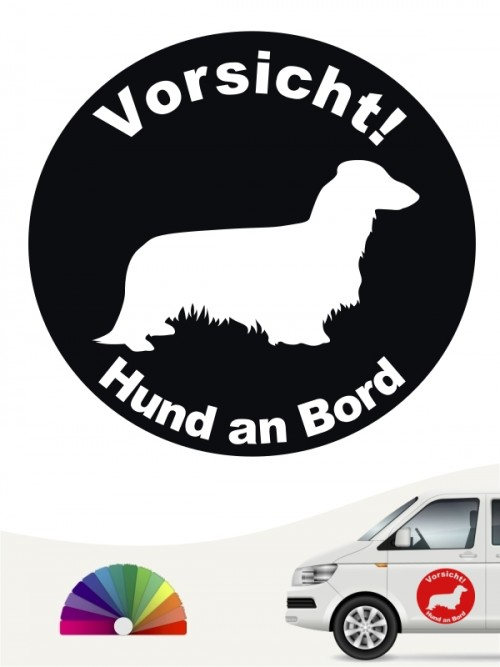 Langhaar Dackel Aufkleber von anfalas.de