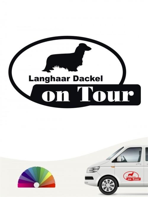 Langhaar Dackel on Tour Autosticker von anfalas.de