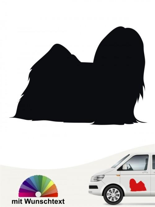 Lhasa Apso Silhouette Sticker mit Wunschtext von anfalas.de