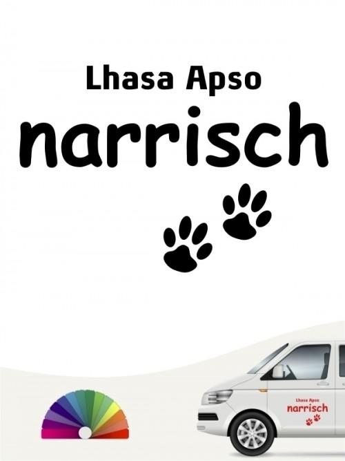 Hunde-Autoaufkleber Lhasa Apso narrisch von Anfalas.de