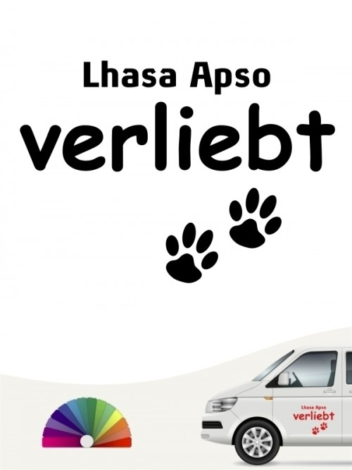 Hunde-Autoaufkleber Lhasa Apso verliebt von Anfalas.de