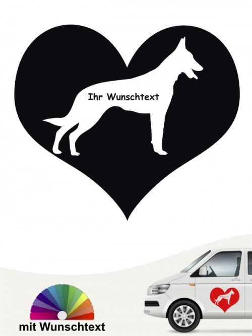 Malinois Herzmotiv Aufkleber von anfalas.de