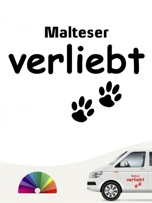 Hunde-Autoaufkleber Malteser verliebt von Anfalas.de