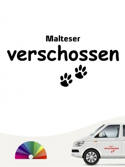 Hunde-Autoaufkleber Malteser verschossen von Anfalas.de