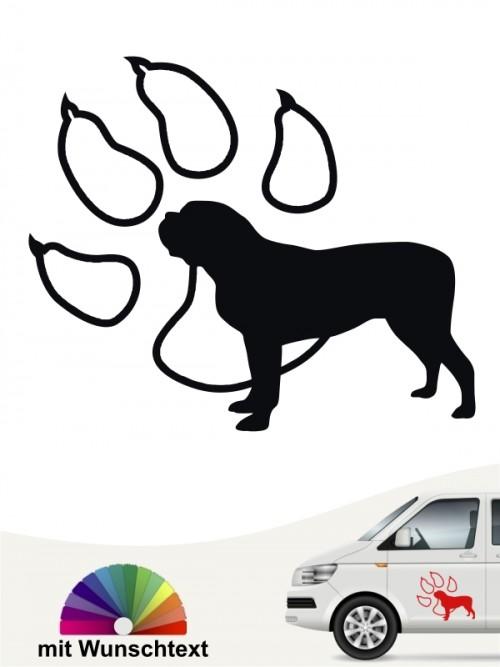 Mastiff Hundeaufkleber mit Wunschtext von anfalas.de