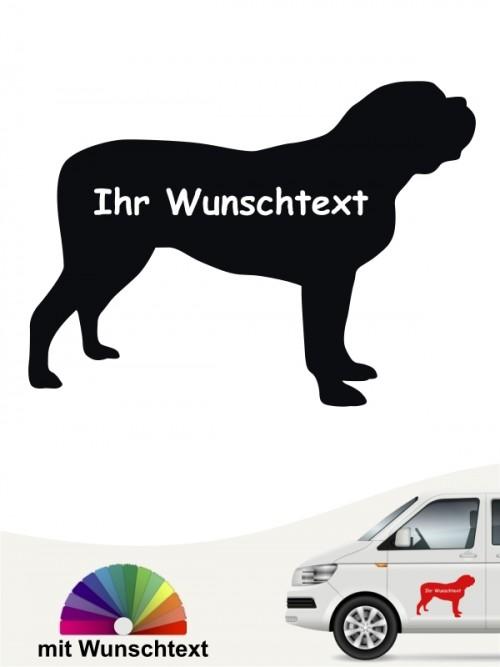 Mastiff Silhouette Aufkleber mit Wunschname von anfalas.de