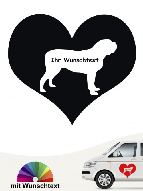 Mastiff Herzmotiv Sticker mit Wunschname von anfalas.de