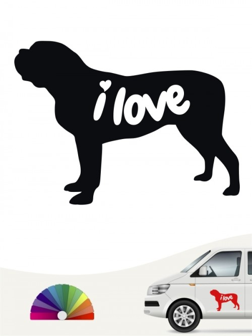 Mastiff i love Aufkleber von anfalas.de