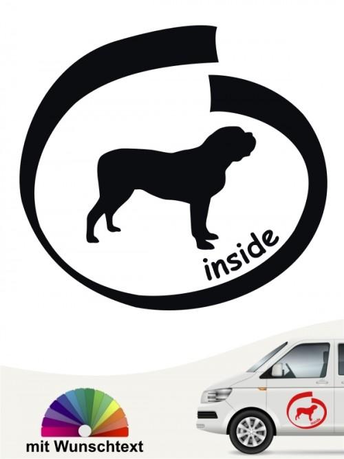 Mastiff inside Autoaufkleber mit Wunschname von anfalas.de