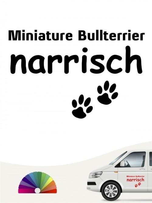 Hunde-Autoaufkleber Miniature Bullterrier narrisch von Anfalas.de