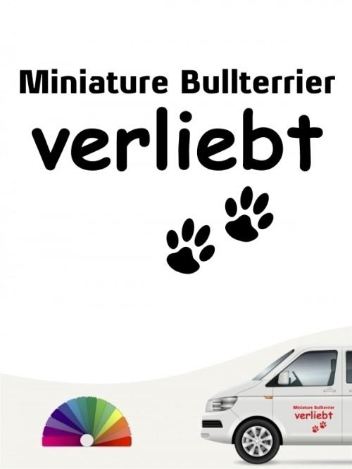 Hunde-Autoaufkleber Miniature Bullterrier verliebt von Anfalas.de