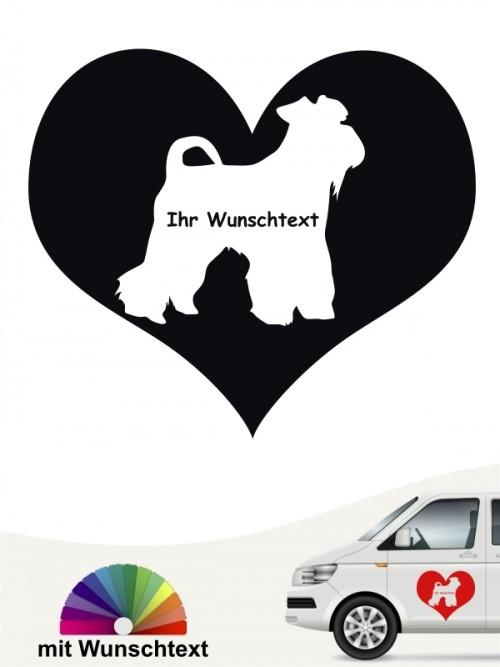 Mittelschnauzer Herzmotiv Aufkleber mit Wunschtext von anfalas.de