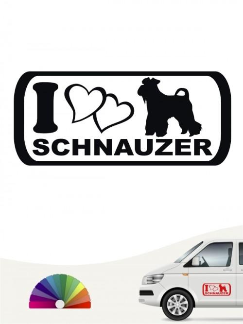 I Love Schnauzer Heckscheibenaufkleber von anfalas.de