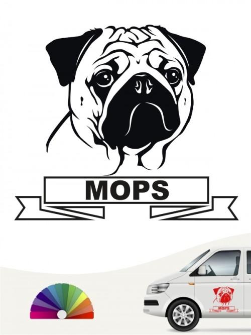 Hunde-Autoaufkleber Mops 15 von Anfalas.de