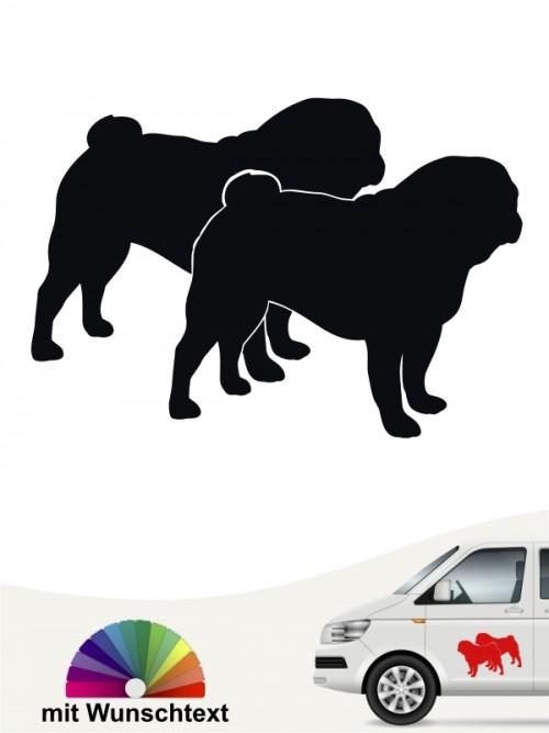 Mops doppel Silhouette Hundeaufkleber von anfalas.de